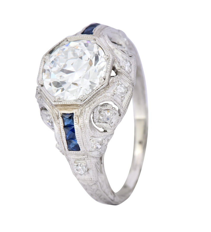 Art Deco 1.83 CTW Diamond Sapphire Platinum Engagement Ring GIA Ring