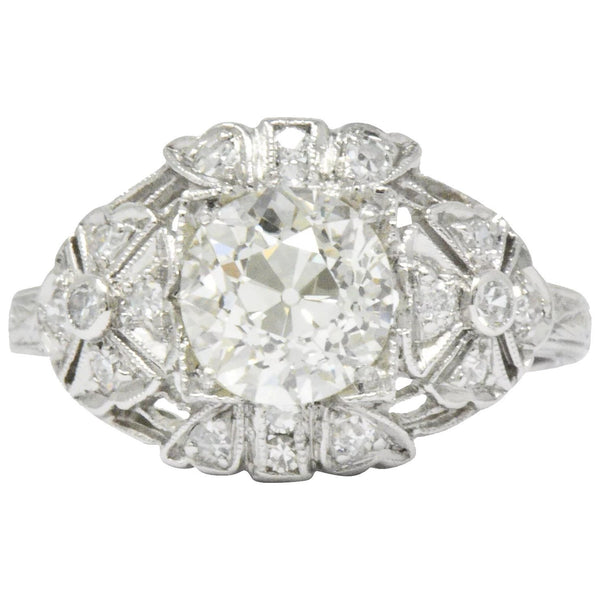 Art Deco 1.84 CTW Diamond Platinum Engagement Ring GIA Ring