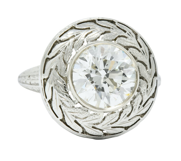 Art Deco 1.85 CTW Diamond 18 Karat White Gold Foliate Statement Ring Circa 1920 - Wilson's Estate Jewelry
