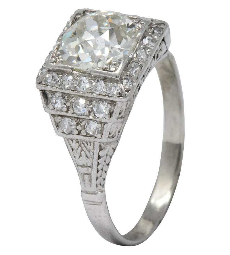 Art Deco 1.95 CTW Diamond Platinum Engagement Ring Ring