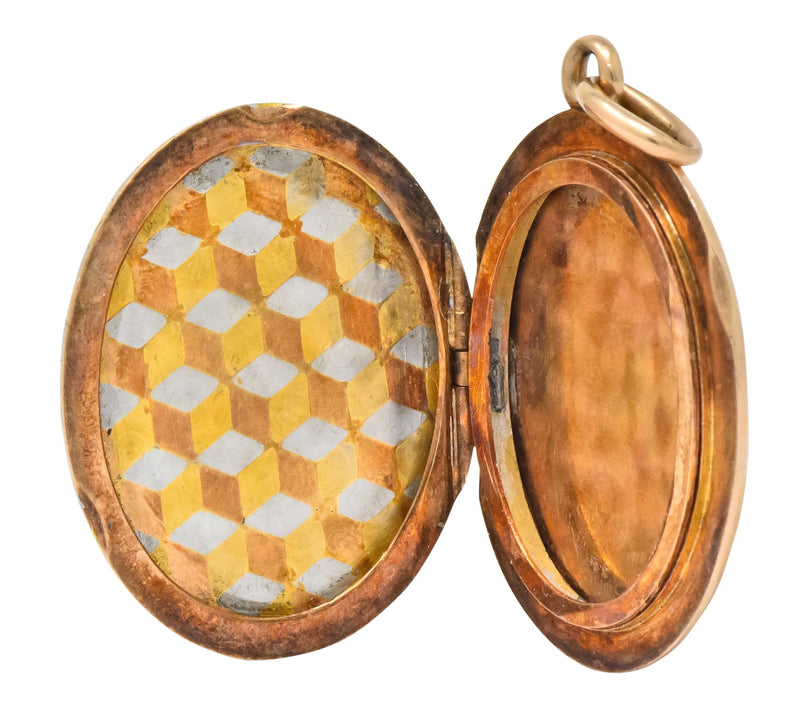 Art Deco 14 Karat Two-Tone Gold Platinum Decorated Locket - Wilson's Estate Jewelry