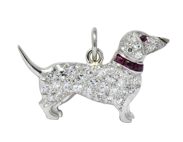 Art Deco 1920s 0.25 CTW Diamond Ruby Platinum Dachshund Dog Charm charm