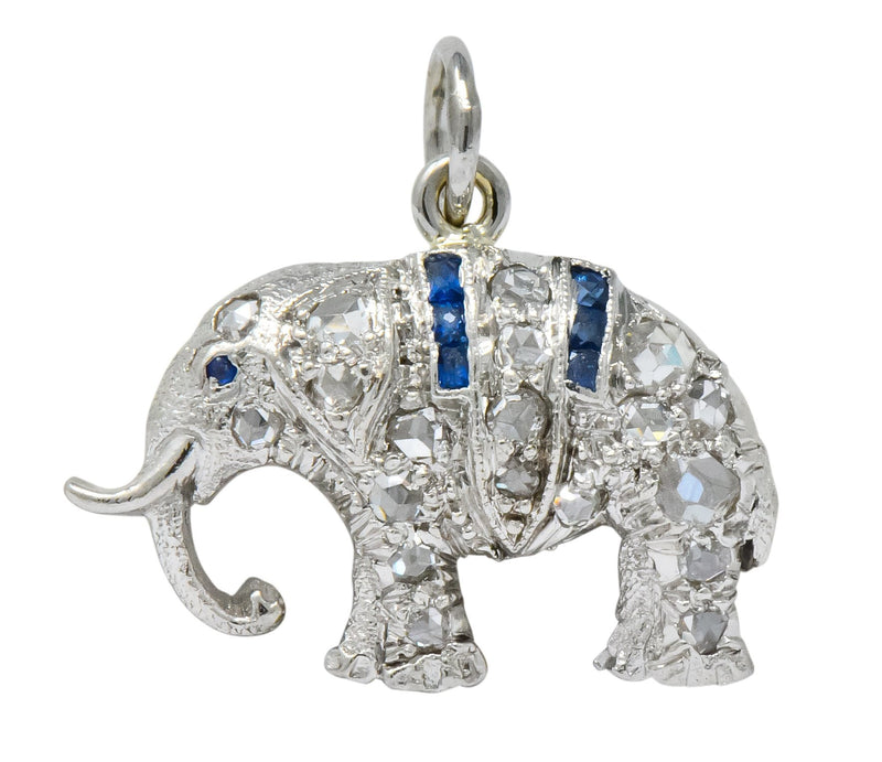 Art Deco 1920's 0.30 CTW Diamond Platinum Lucky Elephant Charm - Wilson's Estate Jewelry