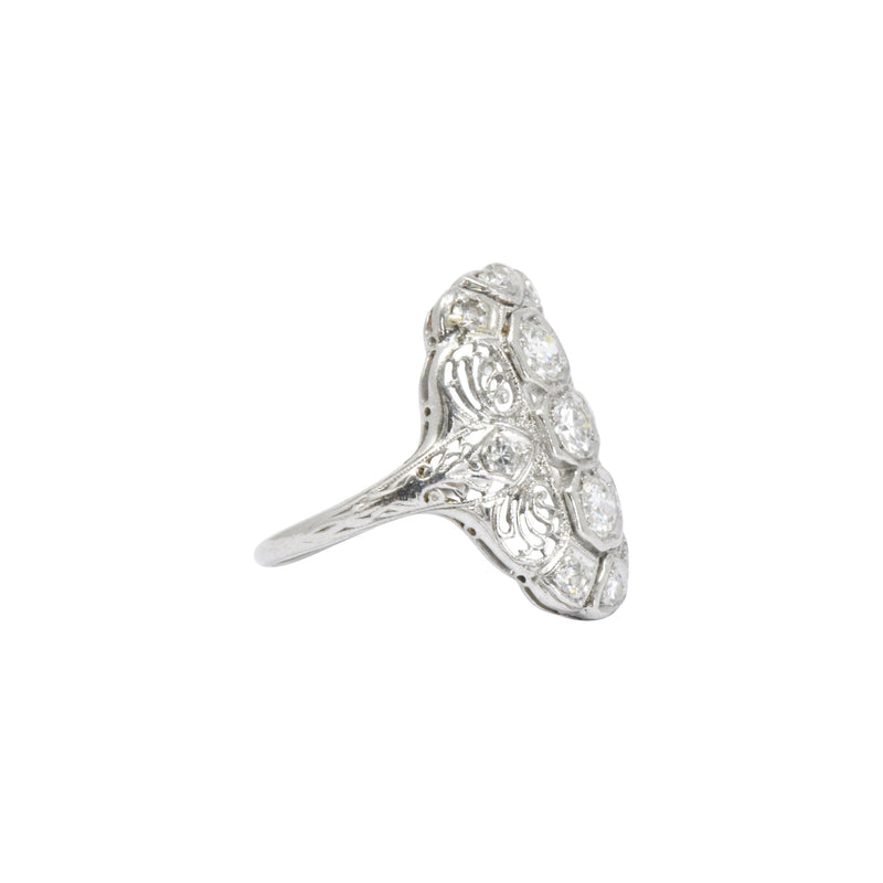 Art Deco 1920s .60 CTW Diamond & Platinum Dinner Ring Ring