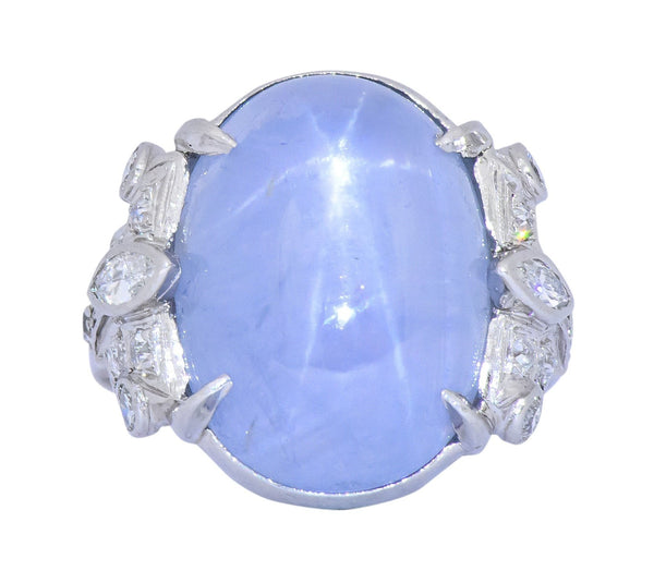 Art Deco 1930s 22.90 CTW Star Sapphire Diamond Platinum Ring Ring