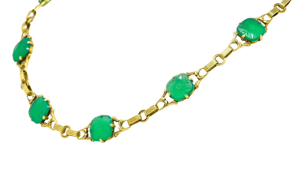 Art Deco 1930's Carved Green Onyx Intaglio 14 Karat Gold Floral Link Necklace - Wilson's Estate Jewelry