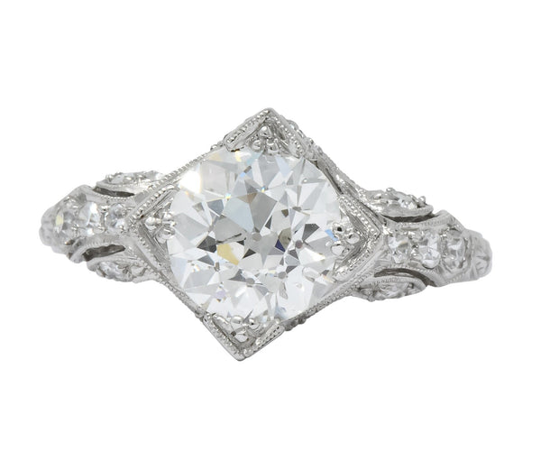 Art Deco 2.03 CTW Diamond Platinum Engagement Ring Ring
