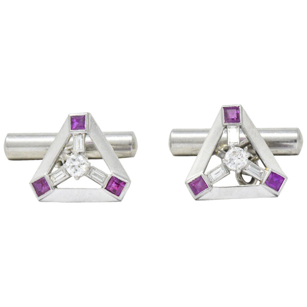 Art Deco 2.08 CTW Diamond Ruby Platinum Cufflinks Cufflinks