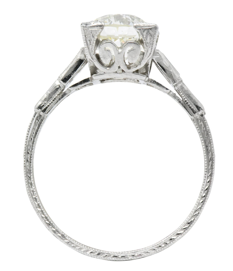 Art Deco 2.35 CTW Diamond Platinum Engagement Ring GIA Ring