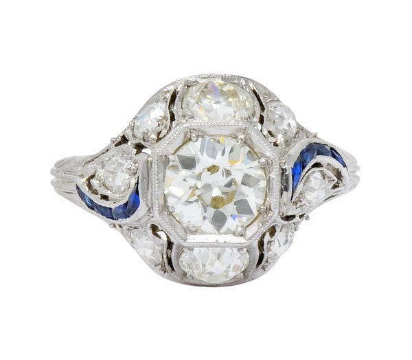 Art Deco 2.38 CTW Diamond Sapphire Platinum Dinner Engagement Ring Ring Art Deco Diamond dinner ring old European cut Sapphire