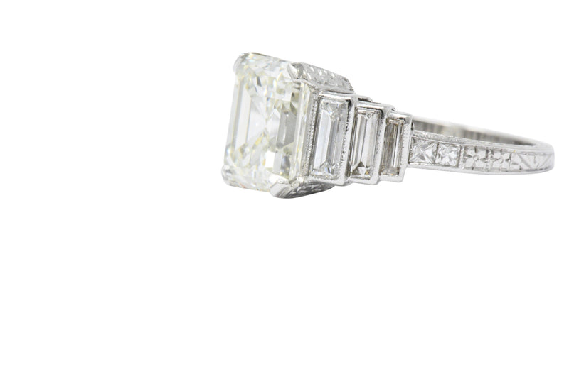 Art Deco 3.64 CTW Asscher Cut Diamond & Platinum Engagement Ring GIA Ring