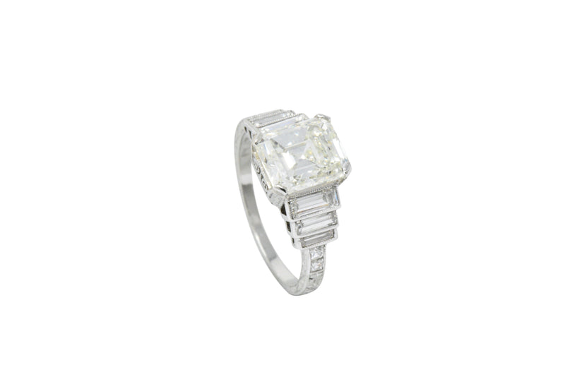 Art Deco 3.64 CTW Asscher Cut Diamond & Platinum Engagement Ring GIA - Wilson's Estate Jewelry
