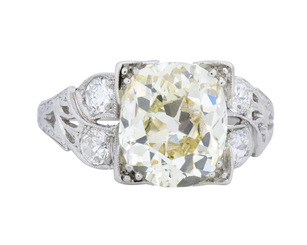Art Deco 3.80 CTW Old Mine Diamond Platinum Engagement Ring - Wilson's Estate Jewelry