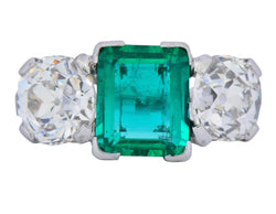 Art Deco 4.87 CTW Colombian Emerald Diamond Platinum Ring AGL - Wilson's Estate Jewelry