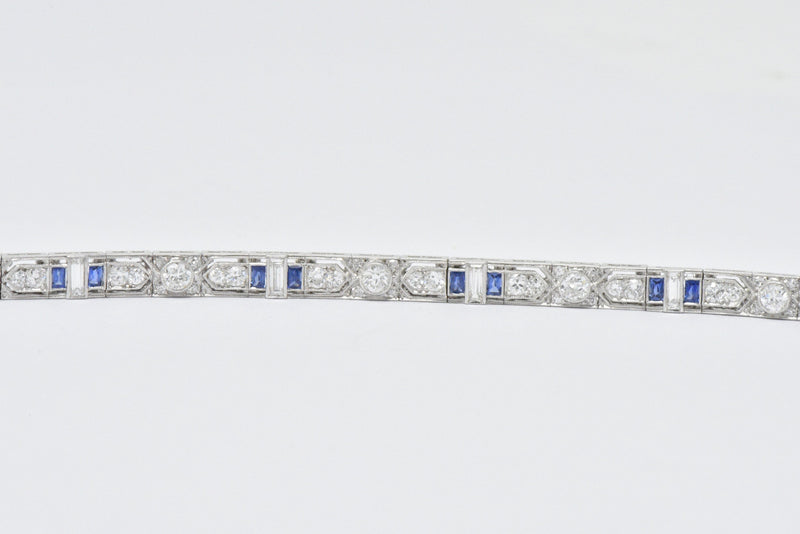 Art Deco 5.04 CTW Diamond Sapphire & Platinum Bracelet - Wilson's Estate Jewelry
