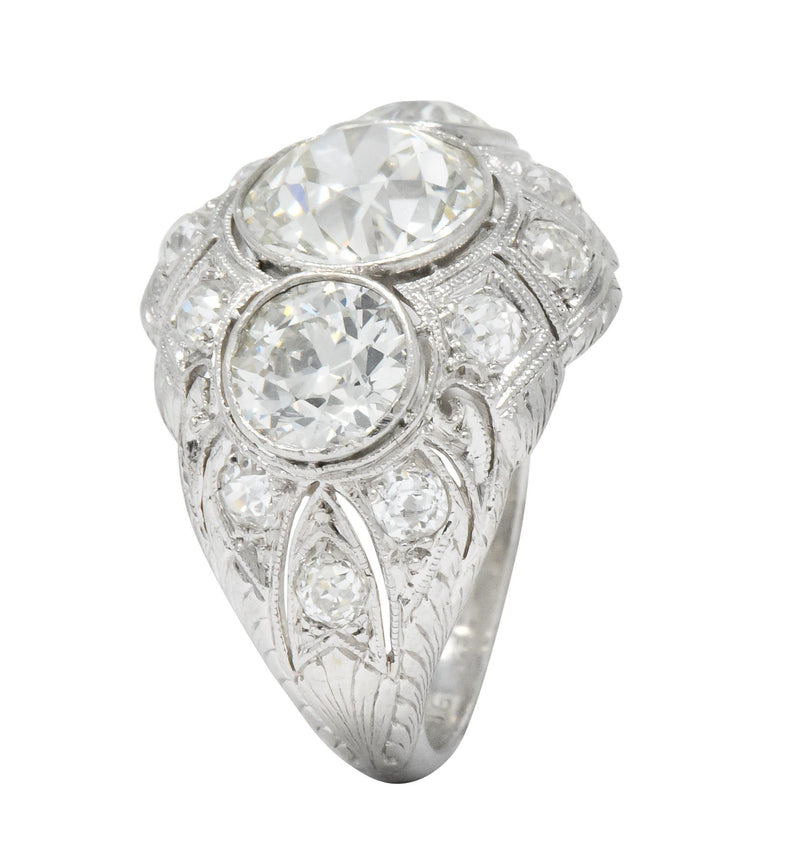 Art Deco 5.60 CTW Old European Cut Diamond Platinum Three Stone Ring - Wilson's Estate Jewelry