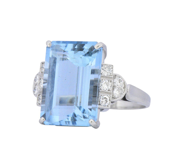 Art Deco 7.75 CTW Aquamarine Diamond Platinum Cocktail Ring - Wilson's Estate Jewelry