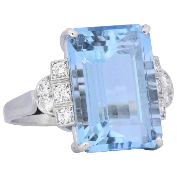 Art Deco 7.75 CTW Aquamarine Diamond Platinum Cocktail Ring Ring