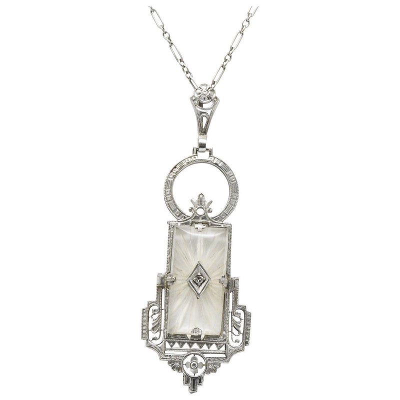Art Deco Camphor Glass Diamond And 14 Karat White Gold Pendant Necklace Necklace out-of-stock