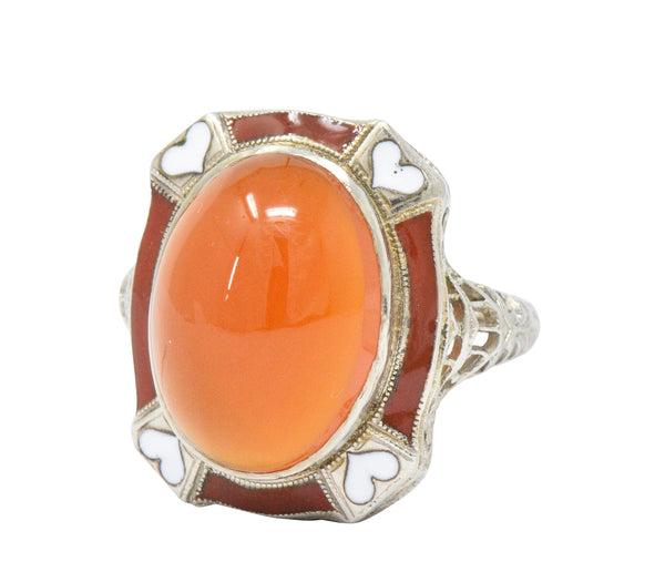 Art Deco Carnelian Enamel Hearts 14 Karat White Gold Ring