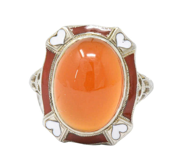 Art Deco Carnelian Enamel Hearts 14 Karat White Gold Ring - Wilson's Estate Jewelry