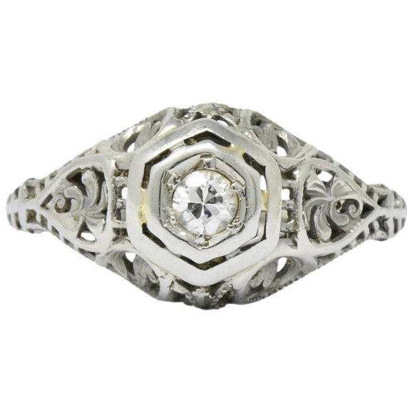 Art Deco Diamond 18 Karat White Gold Engagement Ring Circa 1930 Ring