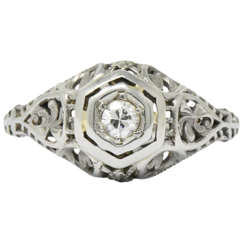 Art Deco Diamond 18 Karat White Gold Engagement Ring Circa 1930 - Wilson's Estate Jewelry