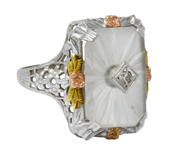 Art Deco Diamond Camphor Glass 14 Karat Tri-Color Gold Dinner Ring Ring