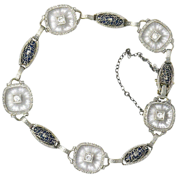 Art Deco Diamond Camphor Glass Enamel Platinum-Topped Bracelet bracelet