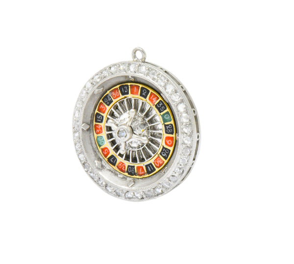 Art Deco Diamond Enamel Gold Platinum Roulette Charm - Wilson's Estate Jewelry