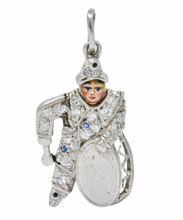 Art Deco Diamond Enamel Sapphire Platinum Drummer Boy Charm - Wilson's Estate Jewelry