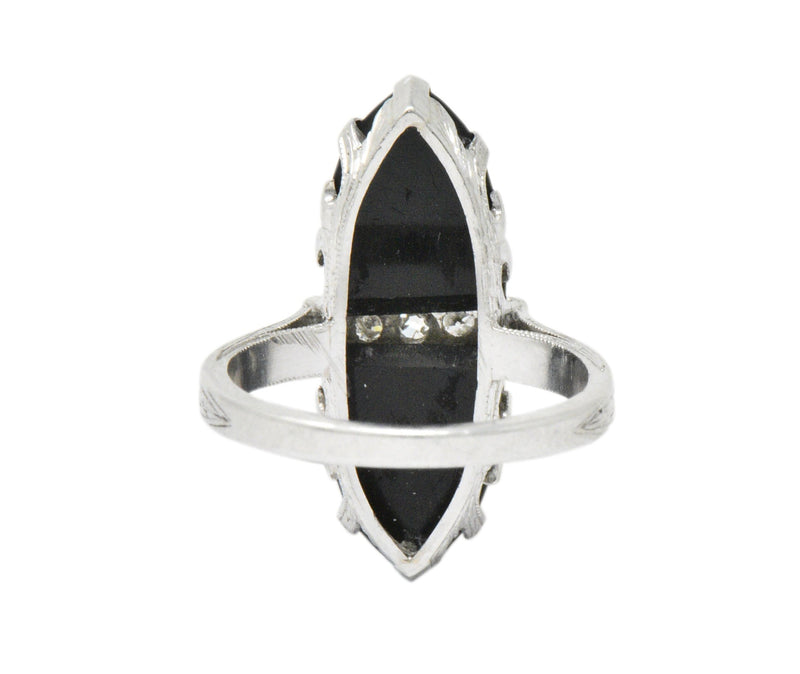 Art Deco Diamond Onyx Platinum Ring - Wilson's Estate Jewelry