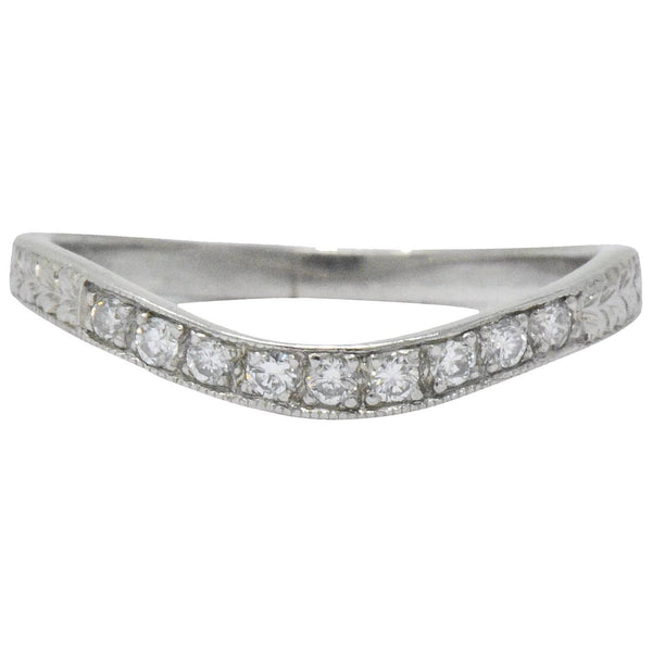 Art Deco Diamond Platinum Contoured Wedding Band Ring Ring Art Deco out-of-stock