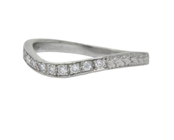 Art Deco Diamond Platinum Contoured Wedding Band Ring Ring