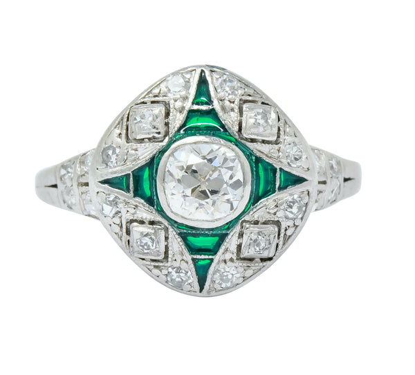 Art Deco Diamond Plique-à-jour Enamel Platinum Dinner Engagement Ring Ring