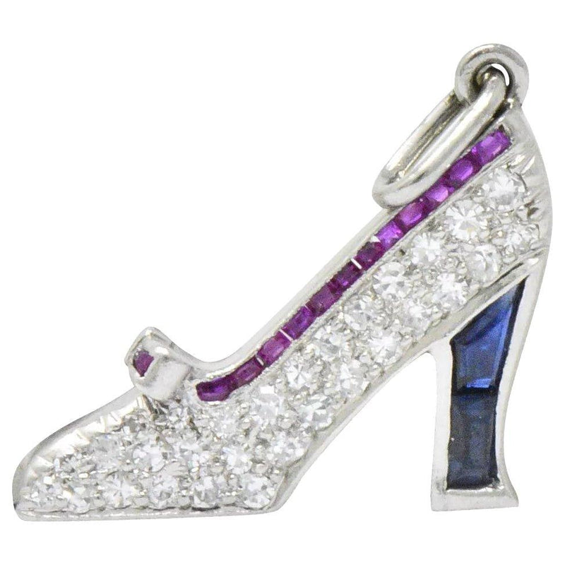 Art Deco Diamond Sapphire Ruby Platinum High-Heel Shoe Charm - Wilson's Estate Jewelry