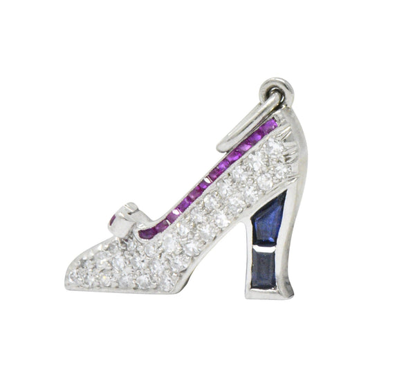 Art Deco Diamond Sapphire Ruby Platinum High-Heel Shoe Charm bracelet Art Deco out-of-stock
