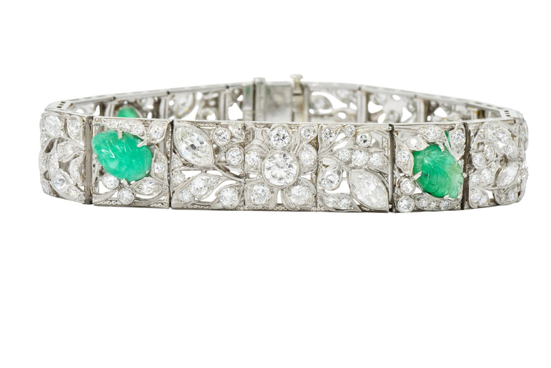 Art Deco Drosten 15.00 CTW Carved Emerald Diamond Platinum Bracelet bracelet