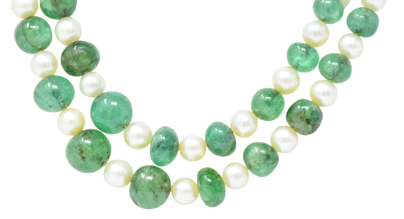 Art Deco French Diamond Emerald Cultured Pearl Platinum Double Strand Necklace - Wilson's Estate Jewelry