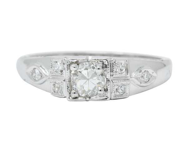 Art Deco Old European Cut Diamond 18 Karat White Gold Engagement Ring - Wilson's Estate Jewelry