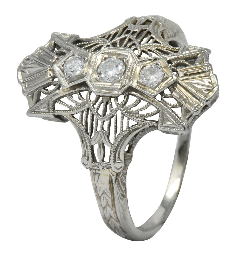 Art Deco Round Brilliant Diamond 18 Karat White Gold Dinner Ring - Wilson's Estate Jewelry