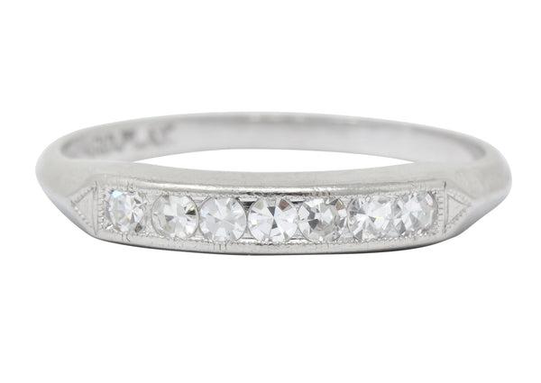 Art Deco Single Cut Diamond Platinum Stackable Band Ring Ring