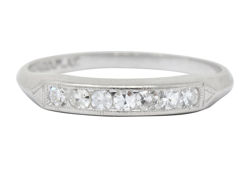 Art Deco Single Cut Diamond Platinum Stackable Band Ring Ring Art Deco diamond out-of-stock single cuts