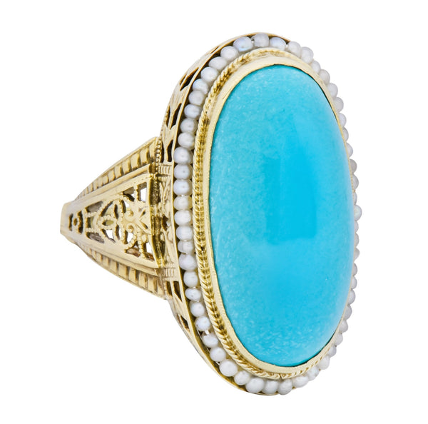 Art Deco Turquoise Seed Pearl 14 Karat Gold Fashion Ring Ring