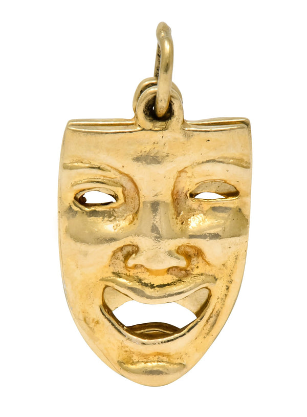 Art Nouveau 14 Karat Greek Tragedy Theater Masks Charm charm Art Nouveau Charm