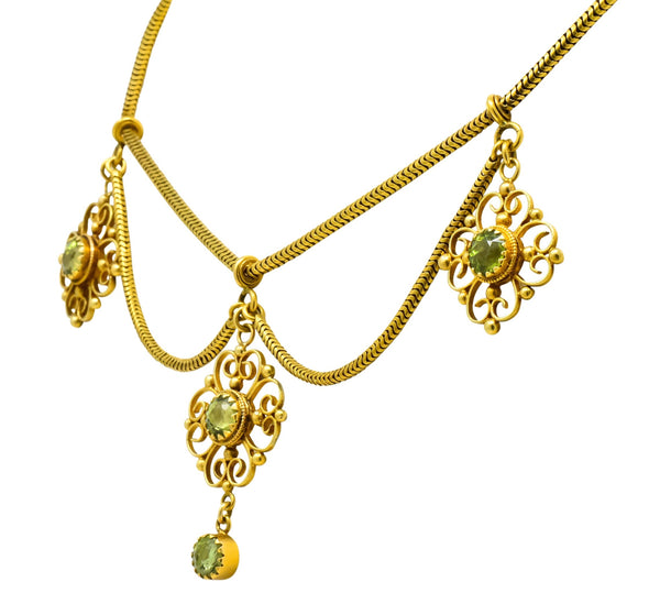 Art Nouveau 8.50 CTW Peridot 14 Karat Gold Swag Necklace Necklace