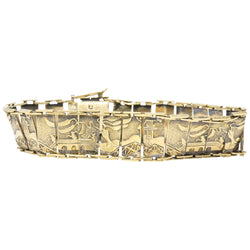 Art Nouveau 9 Karat Gold Asian Scenic Panel Link Bracelet - Wilson's Estate Jewelry