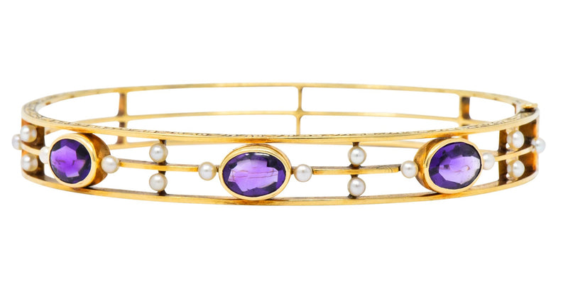 Art Nouveau Amethyst Pearl 14 Karat Gold Bangle Bracelet - Wilson's Estate Jewelry