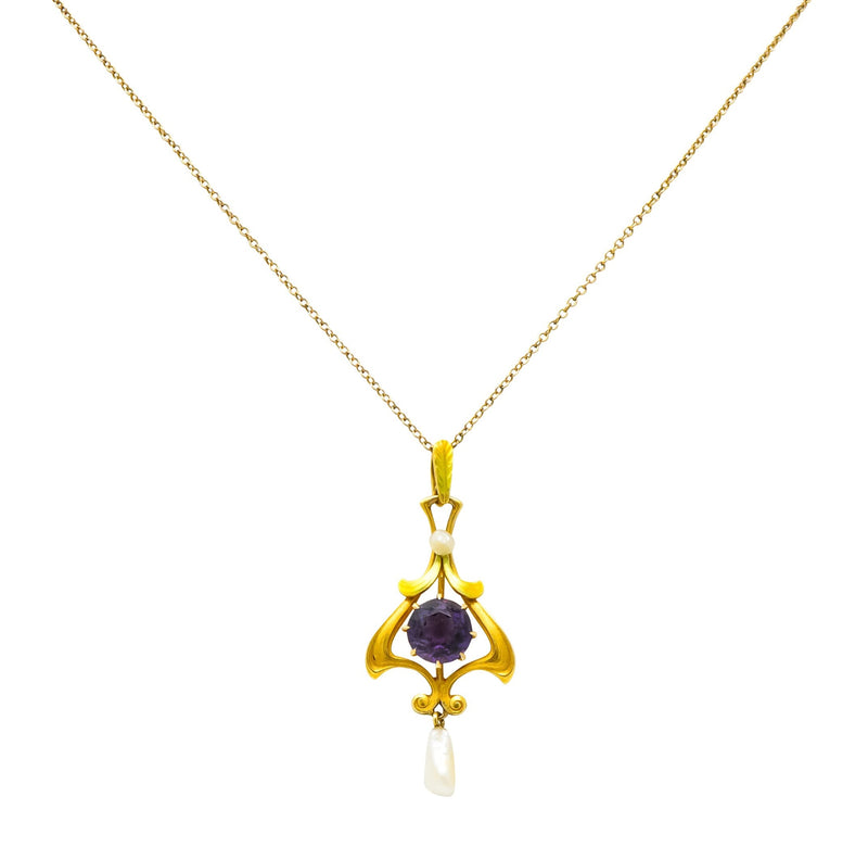 Art Nouveau Amethyst Pearl Enamel 14 Karat Gold Pendant Necklace - Wilson's Estate Jewelry