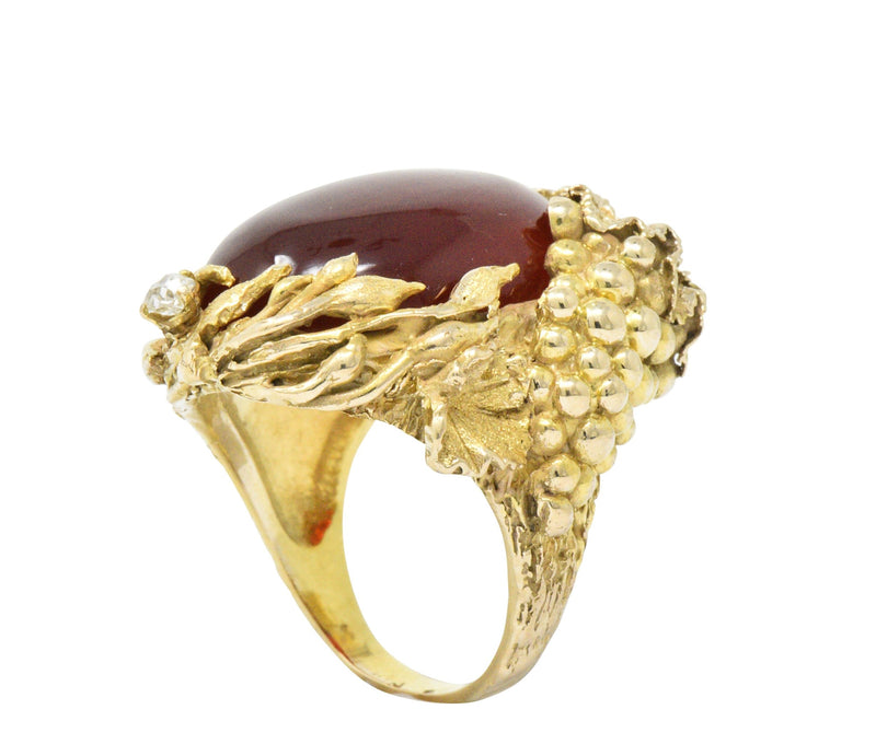 Art Nouveau Carnelian Diamond 14 Karat Gold Ring - Wilson's Estate Jewelry